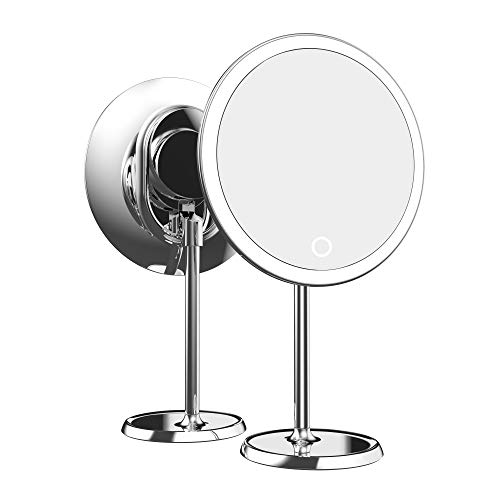 Fenair 9-Inch LED Lighted Magnifying Makeup Mirror with 10X Magnifier, Chargeable Makeup Mirror with Lights, Brightness…