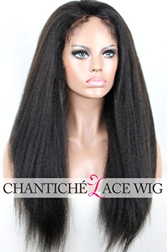 Chantiche Natural Looking Italian Yaki Lace Front Wigs Best Brazilian Remy Human Hair Wigs with Baby Hair for African Americans 130 Density 14 Inch Natural Color (Best Lace Wigs)