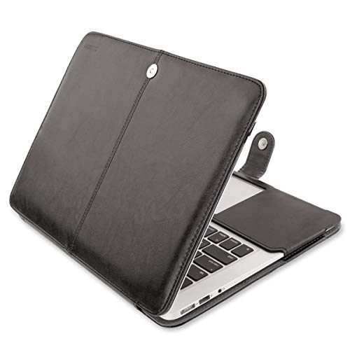 MOSISO PU Leather Case Only Compatible MacBook Air 13 Inch A1466/A1369 (Older Version Release 2010-2017), Premium Quality Book Folio Protective Stand Cover Sleeve, Black ()
