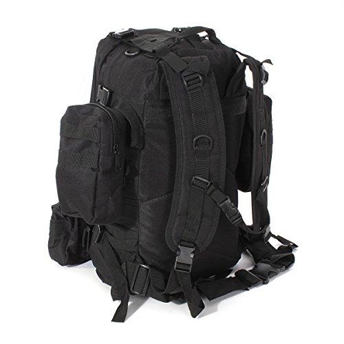 55L Taktischer Rucksack - SODIAL(R) 55L 3D Aussen Militaer Taktischer Rucksack Wandern Tasche Camping, Schwarz