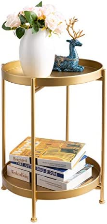 HollyHOME 2-Tier Round Metal End Side Table