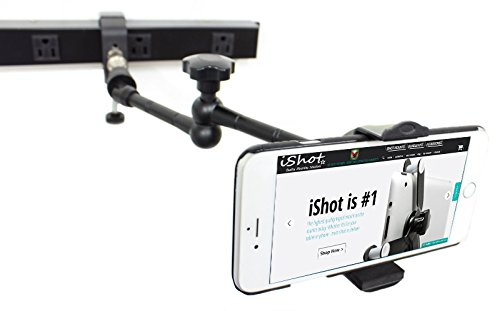 iShot GP5500C-XT iPhone Smartphone C-Clamp Tripod Mic Wheelchair Mount and Stand Holder Bracket + 11 inch 360° Articulating Center Lock Arm - Works with or without a Case on Multiple Smartphone Brands