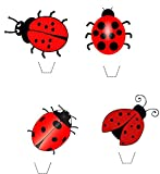 Novelty Cute Ladybird Mix 12 Edible Stand up wafer paper cake toppers (5 - 10 BUSINESS DAYS DELIVERY FROM UK)