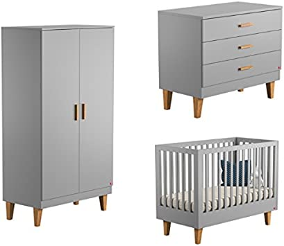 Vox Pack Gris Cuna 60 x 120 cm + colchón + cómoda Cambiador 3 cajones + Armario 2 Puertas + Plan Cambiador Lounge: Amazon.es: Hogar