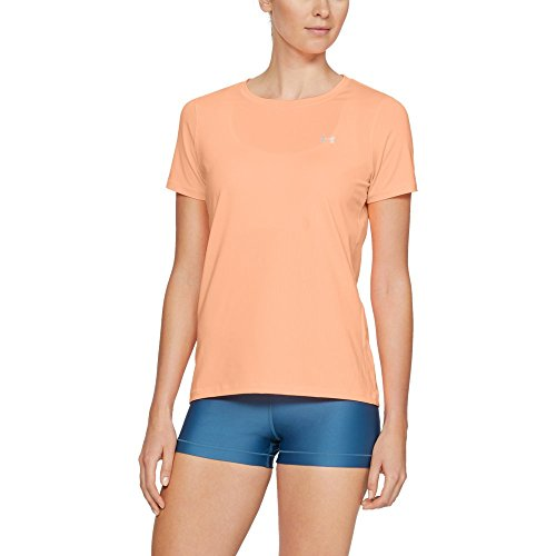 Under Armour Women's HeatGear Short Sleeve, Peach Horizon (906)/Metallic Silver, Medium
