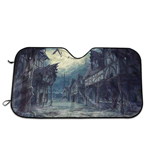 House Halloween Horror Dark Bats Car Sunshade 51.2 * 27.5 in Oxford Cloth + Pearl Aluminum Film Heat Resistant, Effectively Protect Your Car Interior from Aging ()
