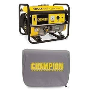 Champion Power Equipment 42436 1200 Running Watts/1500 Starting Watts Gas Powered Portable Generator Bundle and Cover