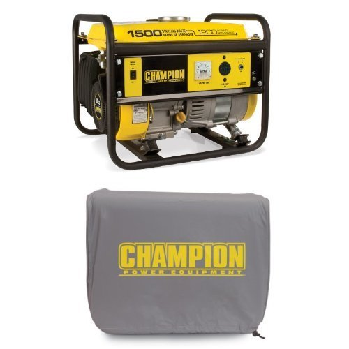 Champion Power Equipment 42436 1200 Running Watts/1500 Starting Watts Gas Powered Portable Generator Bundle with CARB Compliant and Cover Popular