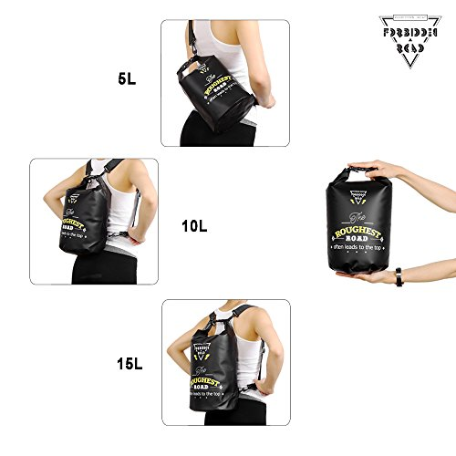 Forbidden Road 2L 5L 10L 15L 20L Waterproof Dry Bag Sack (8 Colors) Dry Sack Roll Top Dry Compression Sack Keeps Gear Dry for Kayaking Boating Camping Canoeing Fishing Skiing Snowboarding