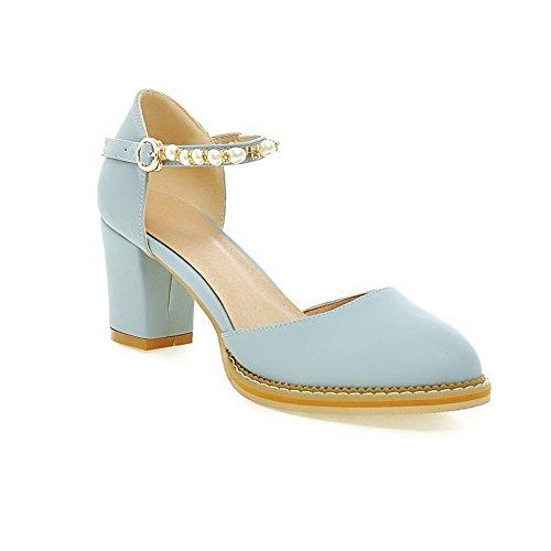 AdeeSu Womens Beaded Kitten-Heels Blue Polyurethane Pumps Shoes 4.5 B(M) US