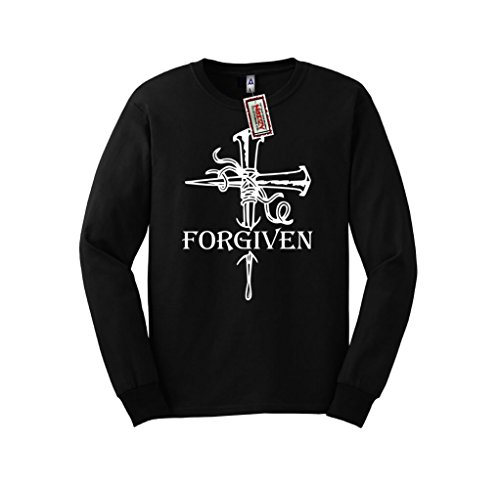 Forgiven Cross Nails Christian Long Sleeve Shirt Jesus Religious Black Tee Large L