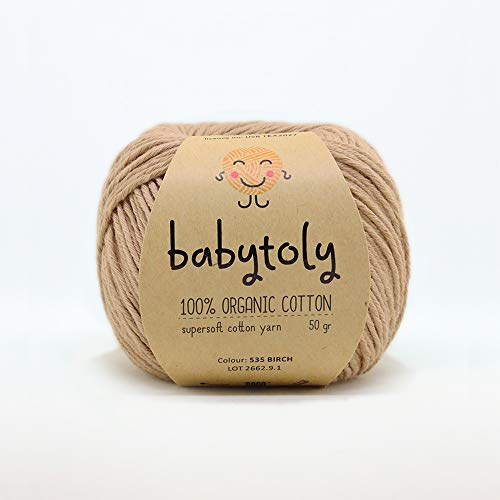 100% Organic Cotton Yarn GOTS Certified - Each Skein 50 gr (1.76 oz) / 105 mt (115 yrd) Super Soft Cotton Knitting Yarn, Pure Natural Eco Baby Yarn, Birch 535