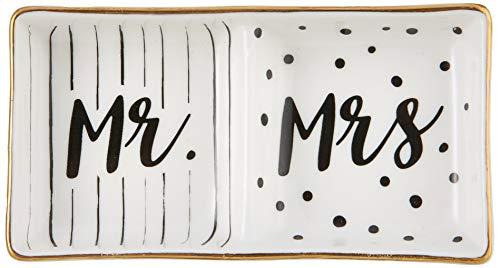 (Kate Aspen Mr and Mrs Ring Dish, Wedding Gift, White and Black)