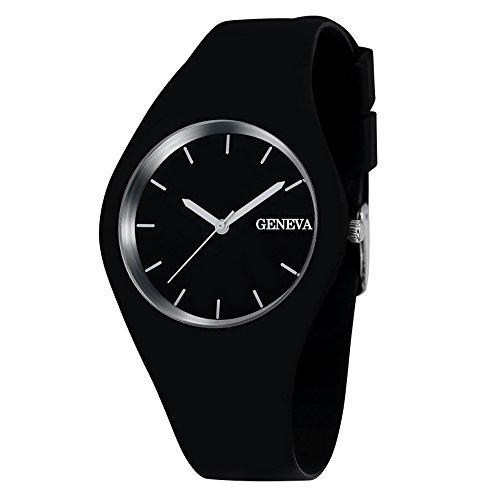 Unisex Geneva Silicone Jelly Gel Quartz Analog Sports Wrist Watch (black2)