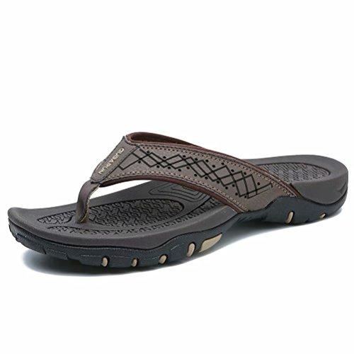 GUBARUN Flip Flops for Men Thong Sandals Comfortable Shoes for Outdoor and Indoor(Brown 9)