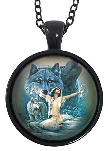 American Art Pendant - Blazing Autumn Native American Women and Wolf Glass Dome Pendant Necklaces/Art Portrait Pendant Photo Under Glass Necklaces with Black Chain (Girl's Timber Wolf Protectors)