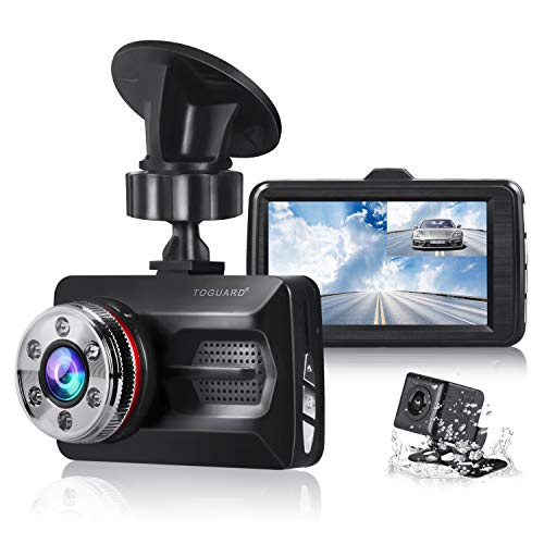 """TOGUARD Dual Dash Cam Car Camera Full HD 170° Wide Angle 3 0"""" 1080P Front  and 720P Rear View Backup Camera with Night Vision WDR G-Sensor Parking"""