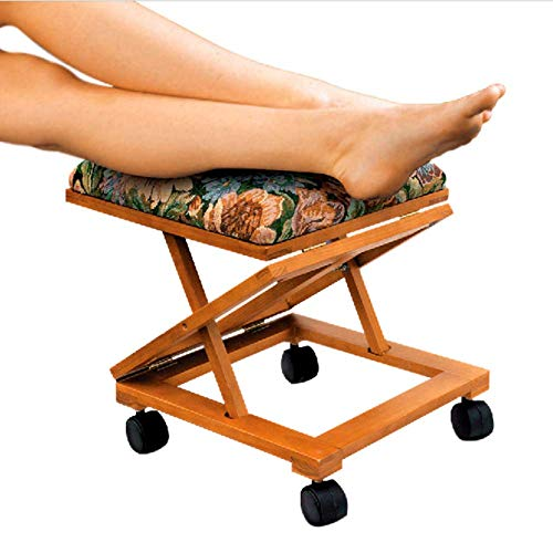 Footrest Ottoman Elevated Stool Adjustable Folding Tapestry Foam Filled Cushion Wooden Comfortable Rolling Locking Casters Ergonomic Leg Rest Support Ultimate Comfort Home Furniture eBook by BADAshop
