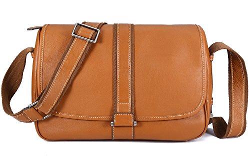 BAIGIO Men Leather Messenger Shoulder Bag Laptop Crossbody Satchel Handbag (Brown) by BAIGIO