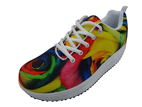 Comfort Platform Shoes for Women 3D Galaxy Walking Sneakers Heels Light Shape Up Multi Color Junior Girls Pattern 1 ZCSChF