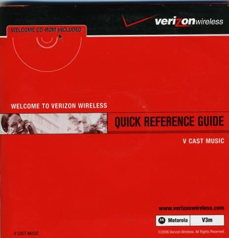 Verizon Wireless OEM Quick Reference Guide for the Motorola Razr V3m Cell Phone