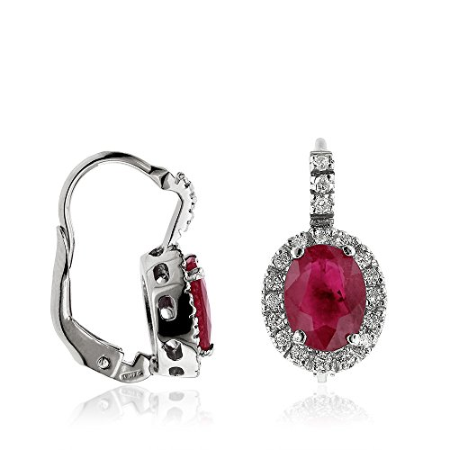 Gioiello ItalianoBoucles d'oreilles en or blanc avec diamants et rubis