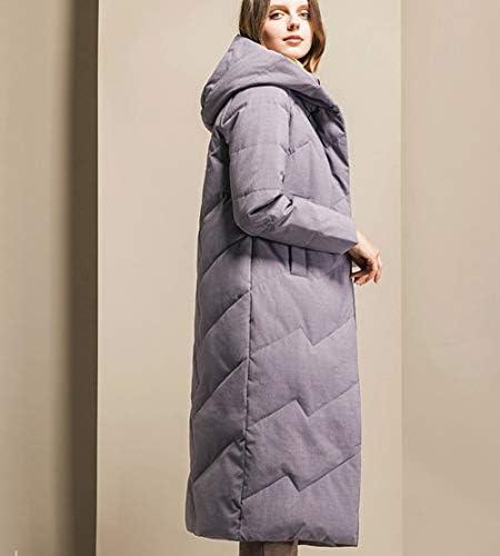 TIAN Damen Daunenjacke, Außen Langer Dicker Wintermantel, warme Hooded Zipper-Jacke,Grau