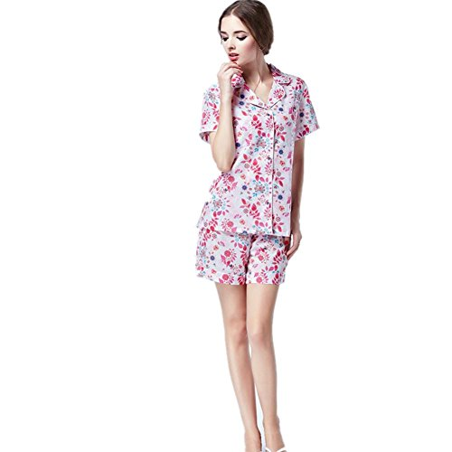 DMMSS Ladies 'Home Wear Cotton Woven Short Sleeve Shorts 2 Stück Pyjama Set Thin