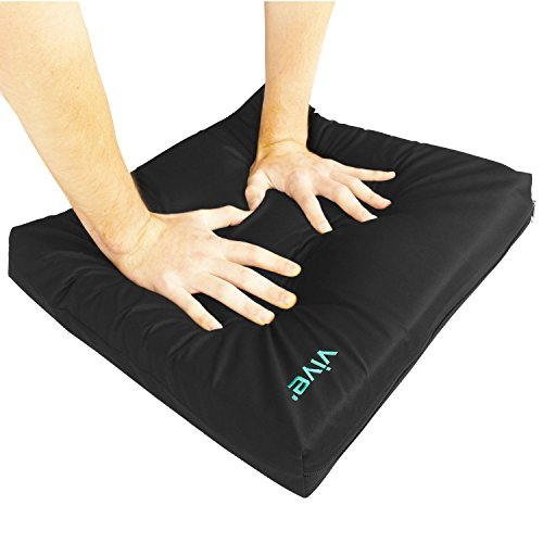 Wheelchair Cushion by Vive - Gel Seat Pad for Coccyx, Back Support, Sciatica & Tailbone Pain Relief - Waterproof Cover + 4 Layer Foam Support and Comfort - For Pressure Sores and Ulcers (18'' x 16'') by VIVE
