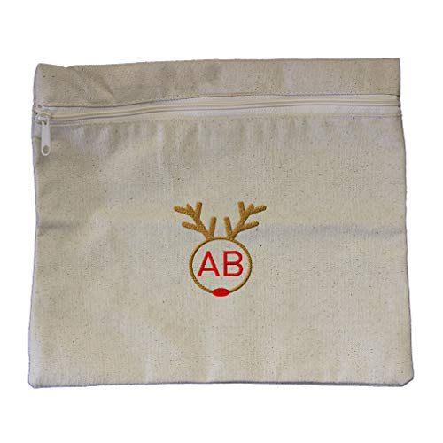 Custom Embroidered Monogram 2 Letters Christmas Reindeer Face Frame Cotton Canvas Zippered Pouch 12
