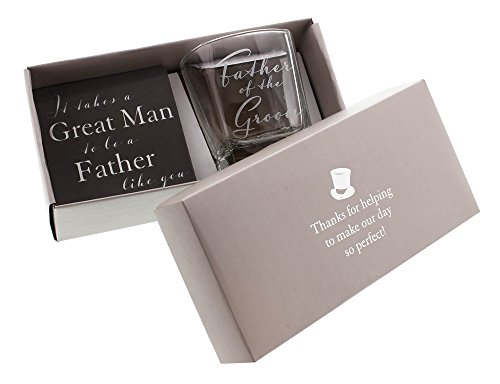 Father of the Groom Whiskey Glass and Coaster Gift Set By Haysom (Father Of The Groom Gifts)
