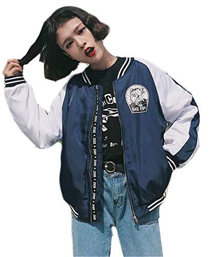 Donna Blau Stampa A Primaverile Autunno Fashion Chiusura Fiore Outdoor Cappotto Taglie Bomber Classiche Cerniera Donne Jacket Biker Forti Laisla Giacca Festiva Moda College Giovane Fidanzato SW4tqvI7n