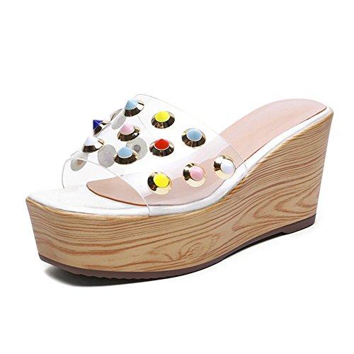 LIXIONG zapatillas Hembra verano Diamante de imitación Wedgies Fondo grueso Playa de arena zapato, Altura del tacón 8cm -Zapatos de moda (Color : Blanco, Tamaño : EU36/UK4/CN36/230) Blanco