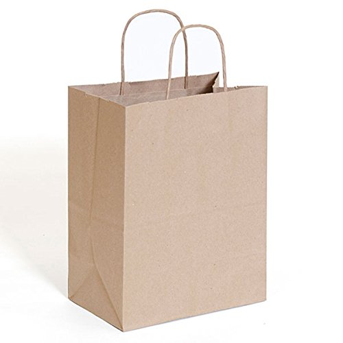 Kraft Gift Shopping Bags with Handles Mechandise Grocery 8x5x10 Display Store Shop Brown Pack of 250 NEW by Bentley's Display