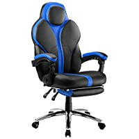 LANGRIA Blue Gaming Chair Office Chair E-Sports Chair Ergonomic High-Back Faux Leather Swivel Style Adjustable Executive Computer Desk Chair Footrest and Tilting Back for Racing Gamers