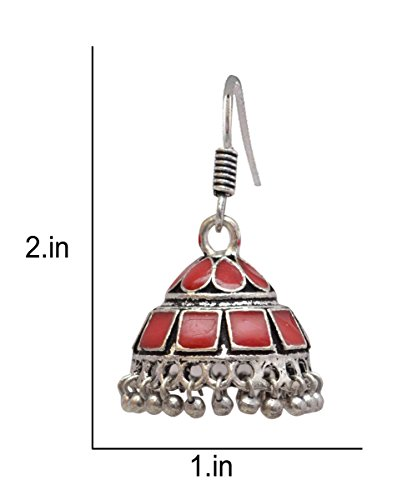 Sansar India Enamel Lightweight Jhumka Indian Earrings Jewelry for Girls and Women 1383 by Sansar India (Image #2)