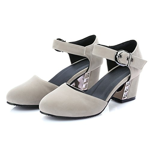 Sandals heel Closed Womens Beige Summer Lucksender Buckle Toe Chunky New Belt Mid FvSzFdwq