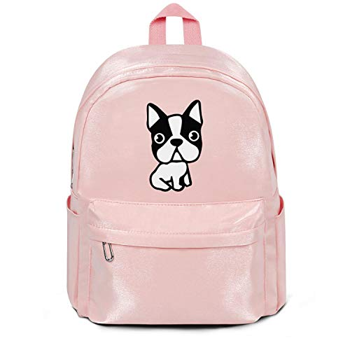 Womens Girl Boys Bag Purse Puppy-Dog-Boston-Terrier-French-Bulldog- Classic Nylon Lightweight School Backpack Bag Pink (Boston Terrier X French Bulldog For Sale)