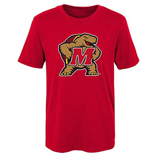 (Outerstuff NCAA Maryland Terrapins Kids Primary Logo Short Sleeve Tee, Kids Small(4), Red)