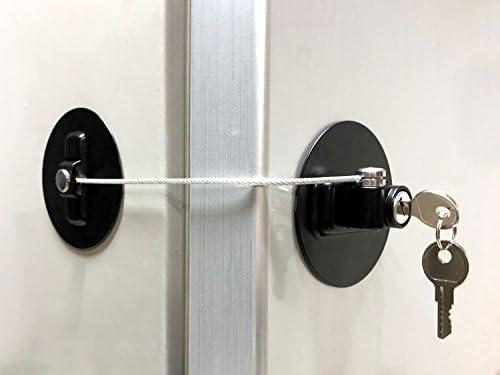 Freezer Door Lock Cabinet Lock Strong Adhesive Cable Lock Security Door Lock White 1 Pack Alamic Refrigerator Door Lock