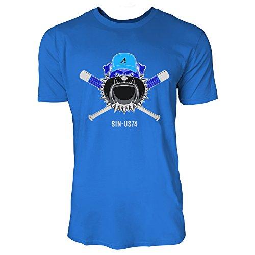 SINUS ART ® Bulldogge mit Baseballschlägern und Cap Herren T-Shirts in Blau Fun Shirt mit tollen Aufdruck