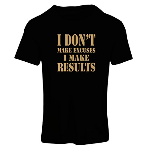 (T Shirts for Women I Make Results - Lose Weight Fast Quotes and Muscle Builder Motivational Sayings (Medium Black Gold) )