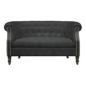 Amazoncom Portfolio Chesterfield Grey Velvet Loveseat Patio