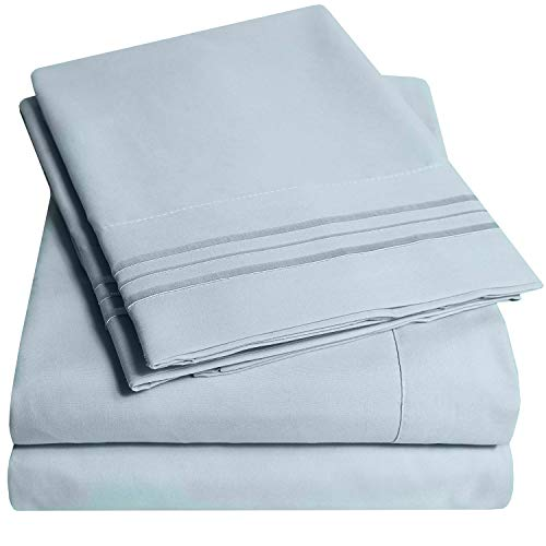 1500 Supreme Collection Extra Soft Twin XL Sheets Set, Misty Blue - Luxury Bed Sheets Set with Deep Pocket Wrinkle Free Hypoallergenic Bedding, Over 40 Colors, Twin XL Size, Misty Blue