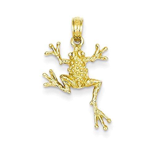 14k Solid Polished Open-Backed Frog Pendant