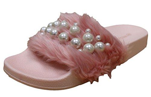 Wild Diva Matty-04A Women's Embellished Pearl Faux Fur Platform Wedge Slide Sandal,Pink,7 (Fur Faux Platform)