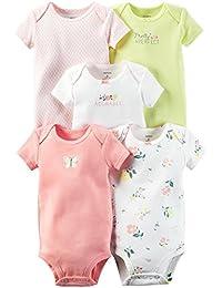 Baby Girls 5 Pack Bodysuits (Baby) - Navy