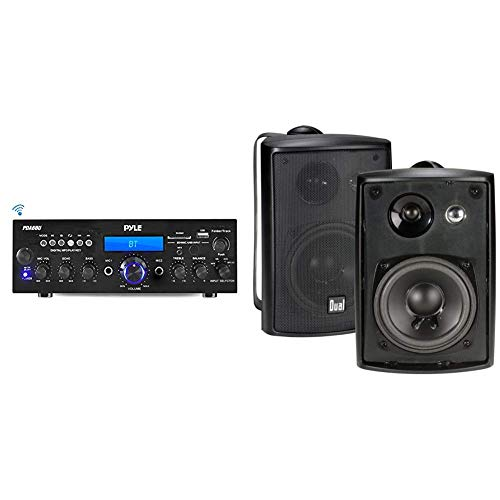 Price comparison product image Pyle Bluetooth Stereo Amplifier Receiver & Dual Electronics LU43PB 4 inch 3-Way High Performance Indoor,  Outdoor & Bookshelf Studio Monitor Speakers with Swivel Brackets & 100 Watts Peak Power
