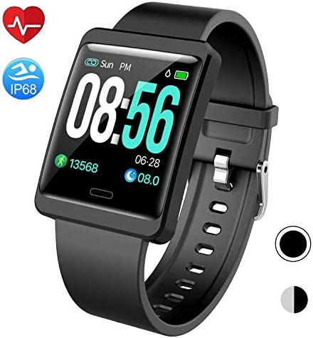 Mgaolo Smart Watch Fitness Tracker,Activity Tracker Smartwatch with Change Brightness Screen,IP68 Swimming Waterproof Fit Watch Wristband with Heart Rate Sleep Monitor for Android iPhone Black