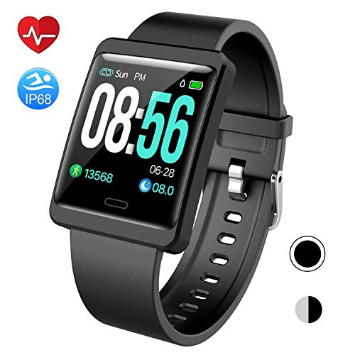 Mgaolo Smart Watch Fitness Tracker,Activity Tracker Smartwatch with Change Brightness Screen,IP68 Swimming Waterproof Fit Watch Wristband with Heart Rate Sleep Monitor for Android & iPhone(Black) ()